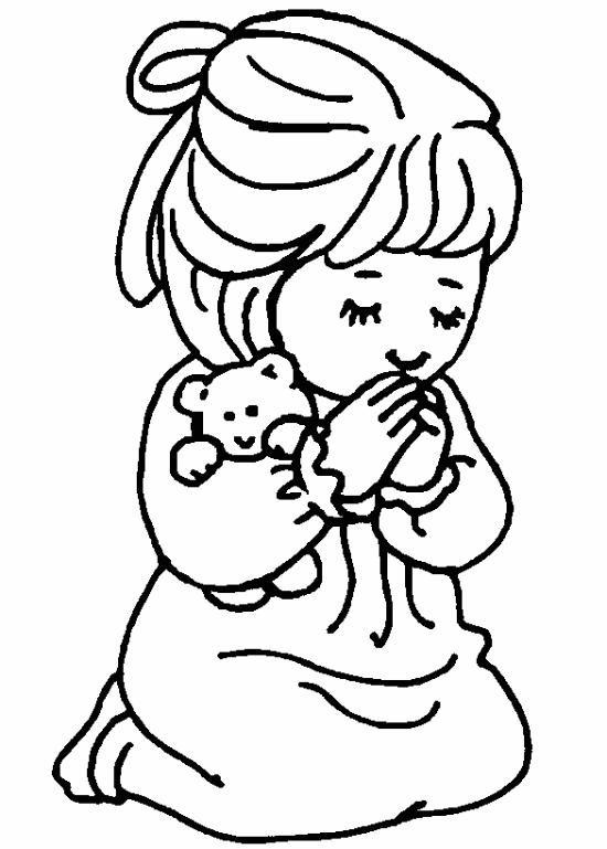 Coloriage enfant en pri re - Dessin main enfant ...