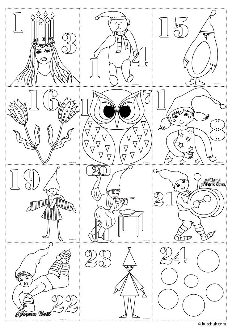 Coloriage page 4 - Coloriage calendrier de l avent ...